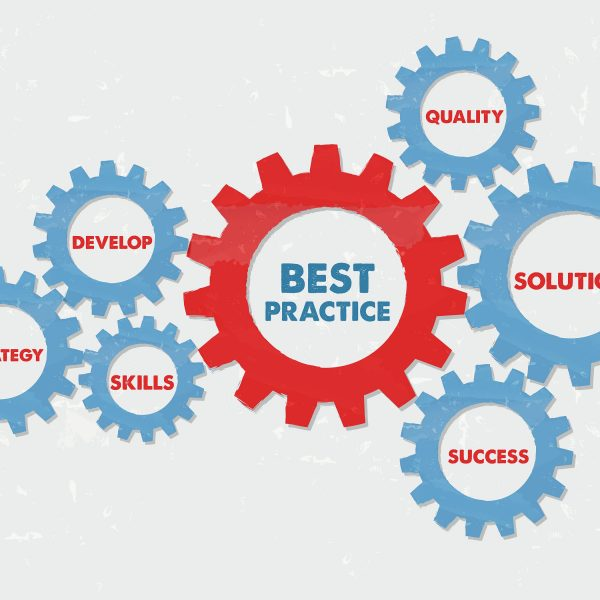 best practice quality solution success develop strategy skills - business professional concept words - red blue text in grunge flat design gear wheels